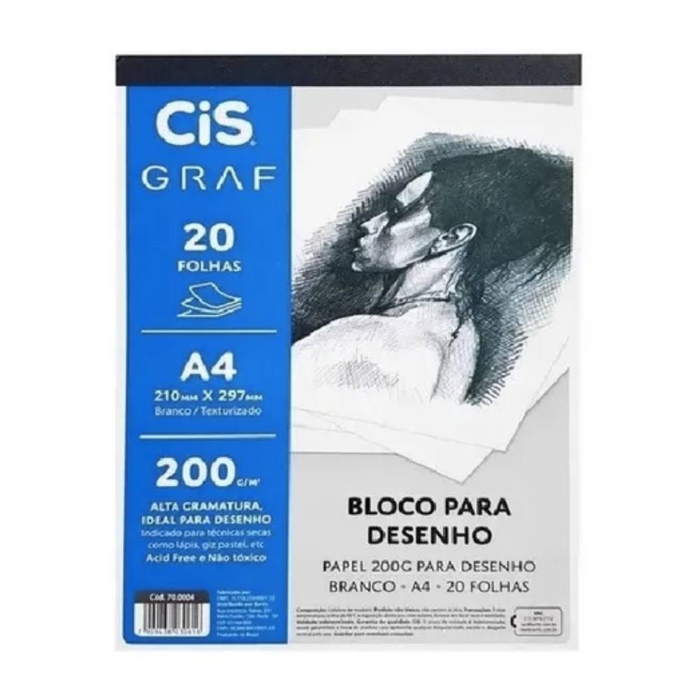 Bloco para Desenho CIS A4 c/ 20 Folhas 200g