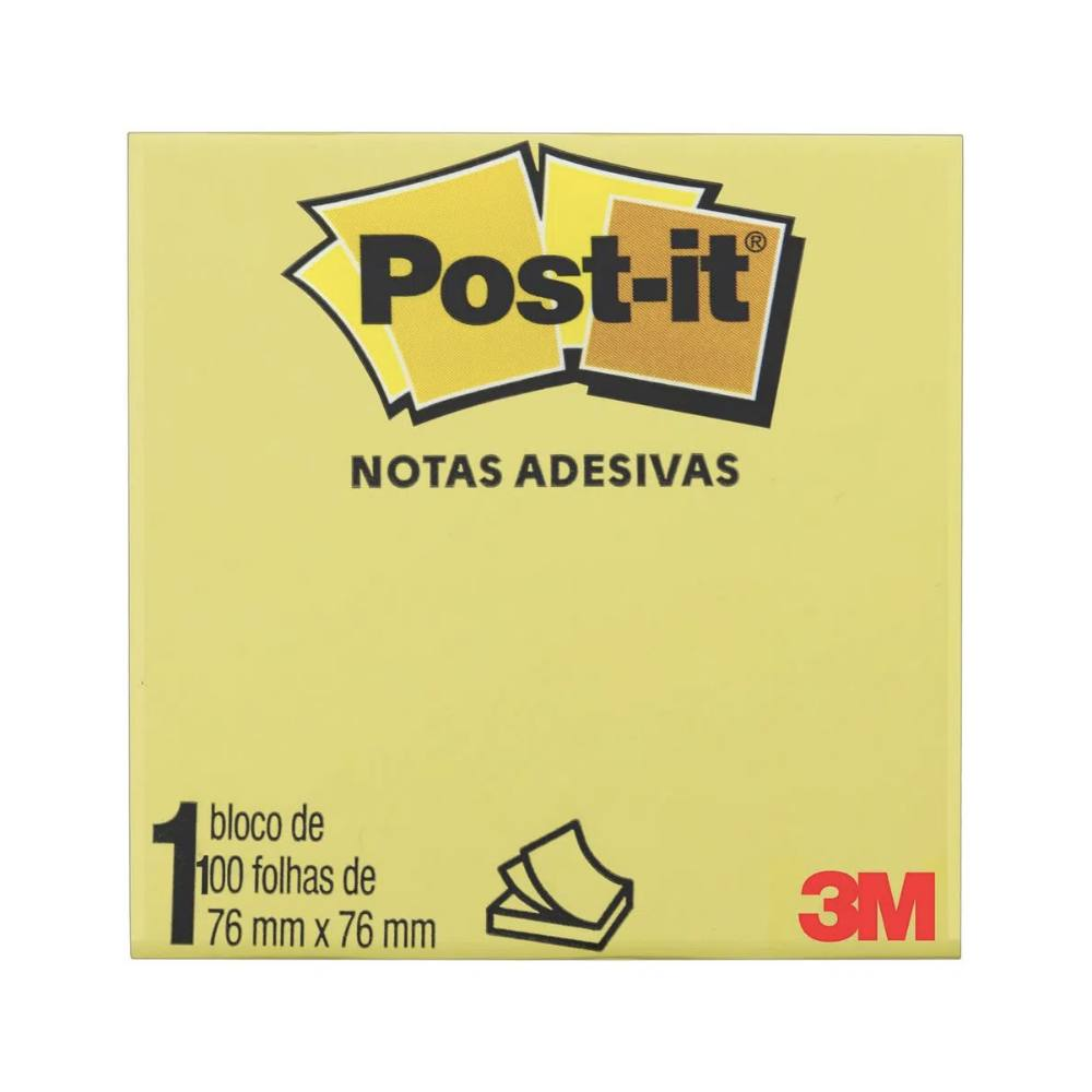 Bloco Post-It® 3M 76x76 mm c/ 100 Fls - Amarelo