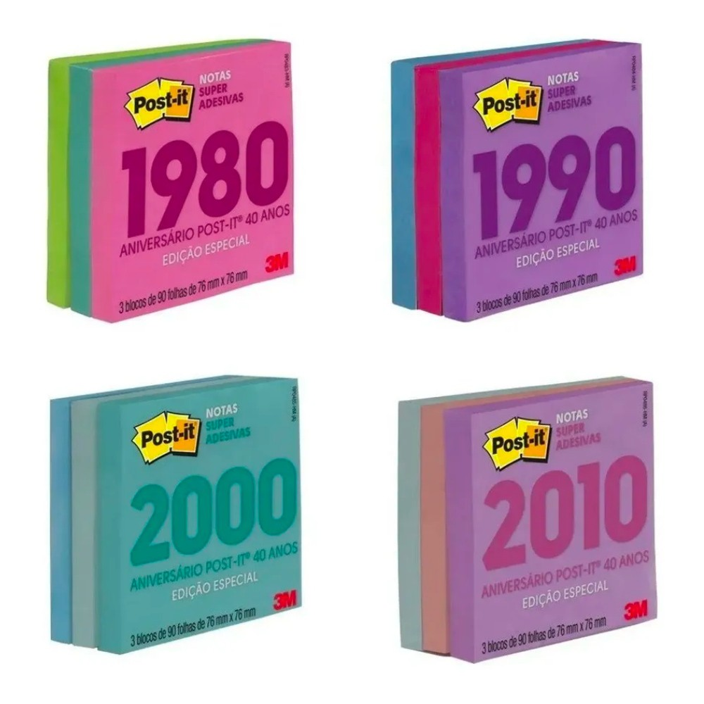 Bloco Post-It® 3M Especial 40 anos 76x76 mm c/ 270 Fls