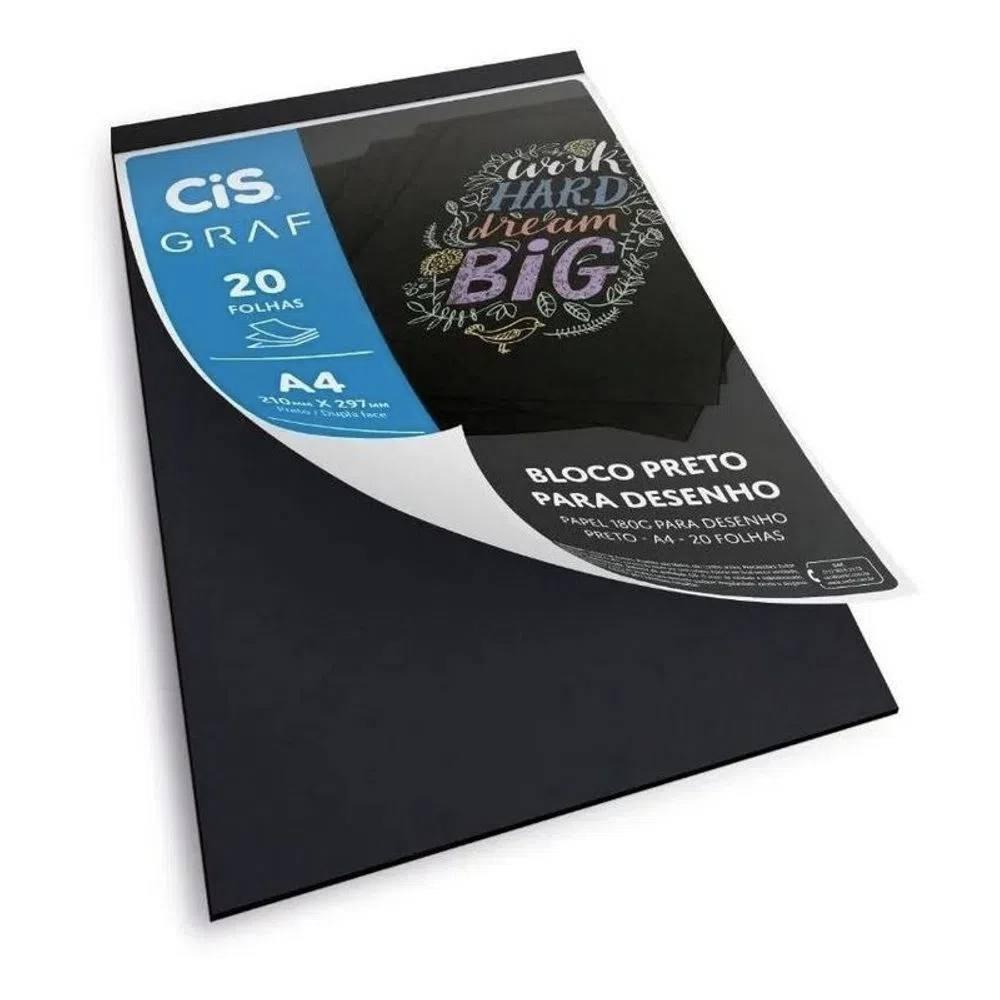 Bloco Preto para Desenho CIS A4 c/ 20 Folhas 180g