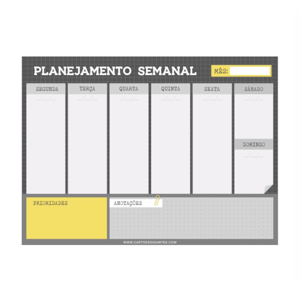 Bloco Semanal CARTÕES GIGANTES 28x21
