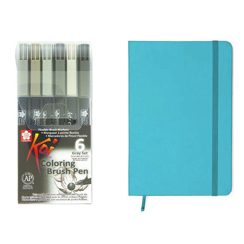 Brush Pen Koi estojo c/ 6 cores + Caderneta Cícero Pontado 14 x 21 Bullet Journal (turquesa)