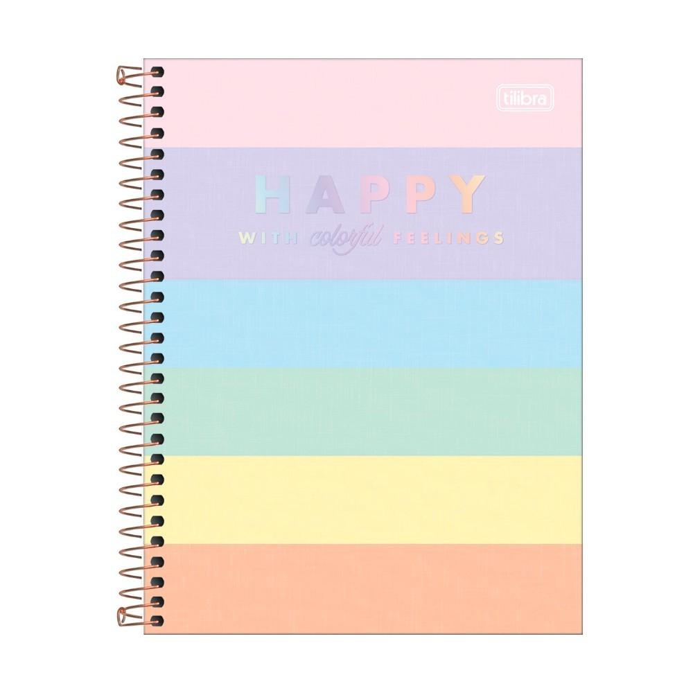 Caderno Colegial TILIBRA Happy Color - 10 Matéria c/ 160 Páginas