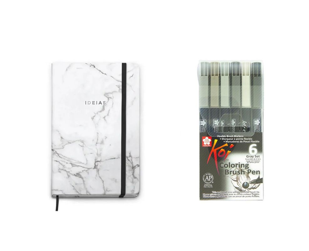 Caneta Brush Pen Koi Cinza + Caderneta Cícero Pontada Bullet Journal Classica (branca)