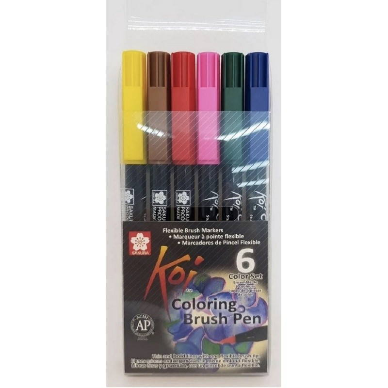 Caneta Brush Pen KOI Estojo c/ 6 Cores Básicas