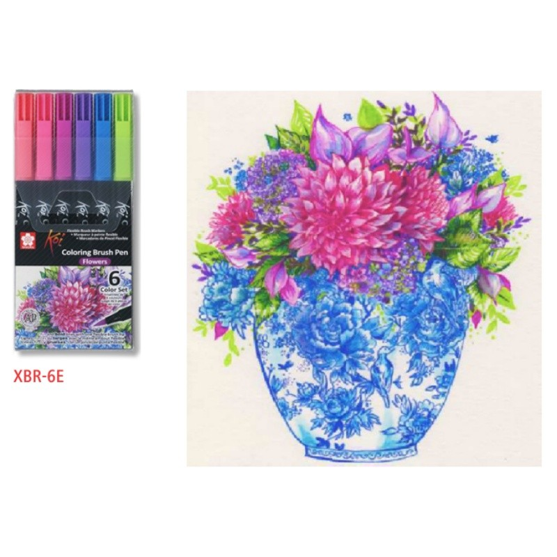 Caneta Brush Pen KOI Estojo c/ 6 Cores Flowers