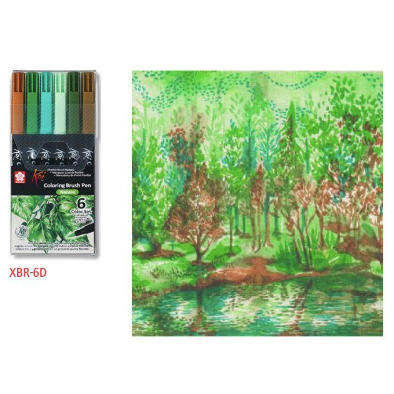 Caneta Brush Pen KOI Estojo c/ 6 Cores Nature