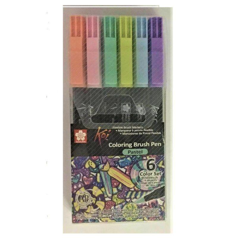 Caneta Brush Pen KOI Estojo c/ 6 Cores Pastel