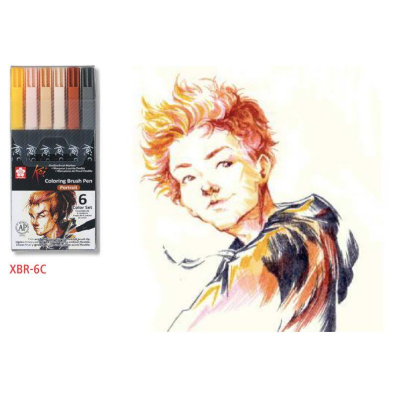 Caneta Brush Pen KOI Estojo c/ 6 Cores Portrait