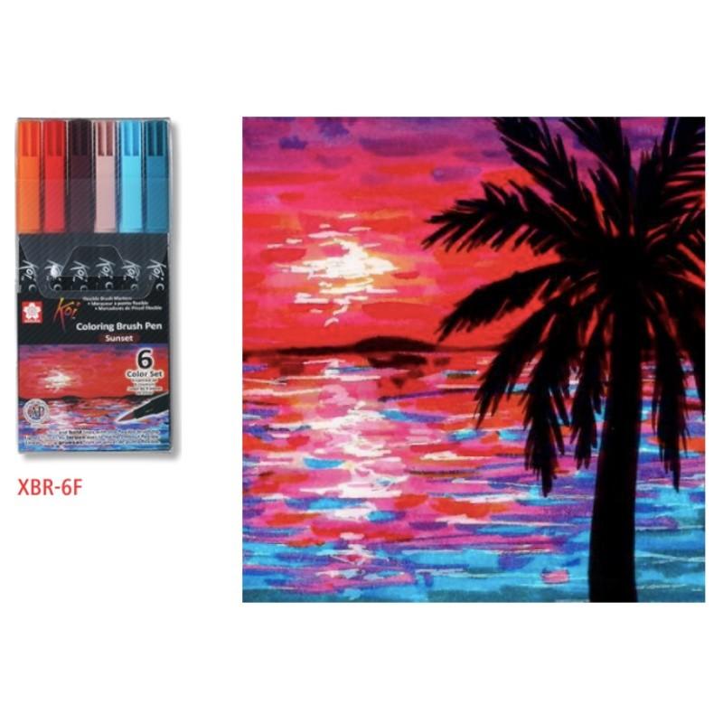 Caneta Brush Pen KOI Estojo c/ 6 Cores Sunset