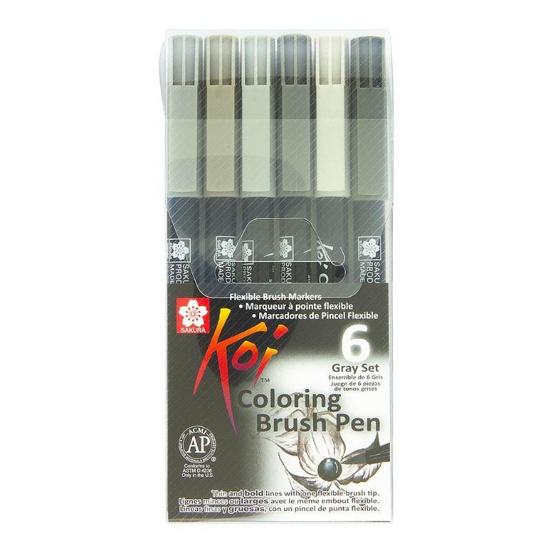 Caneta Brush Pen KOI Estojo c/ 6 Cores Tons de Cinza