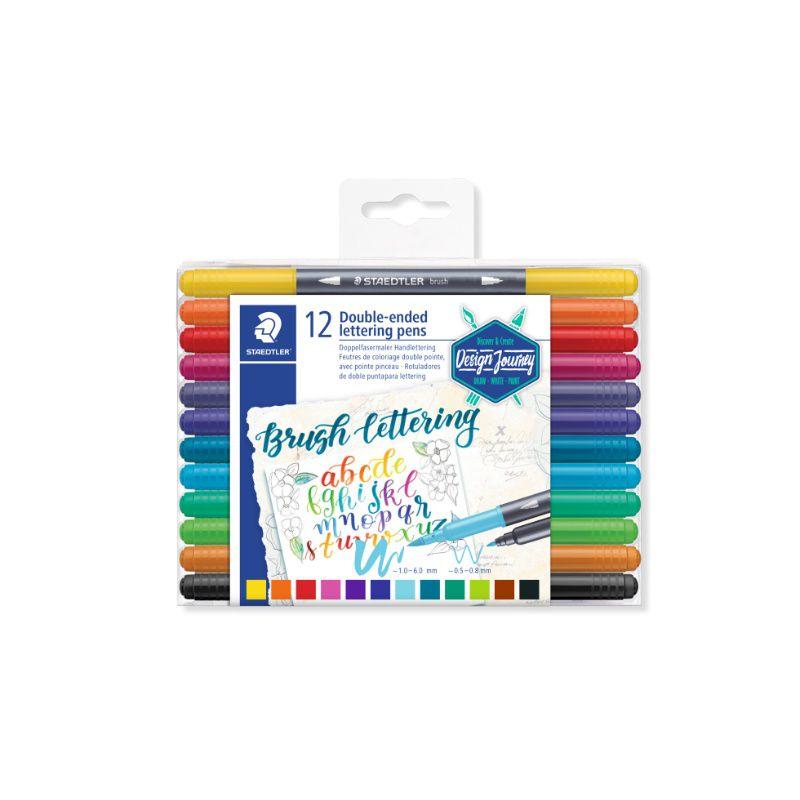 Caneta Brush Pen (Lettering) STAEDTLER Ponta Dupla 12 cores