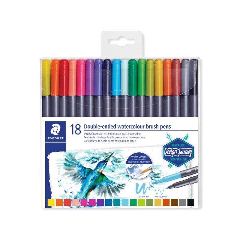 Caneta Brush Pen STAEDTLER Ponta Dupla 18 unds