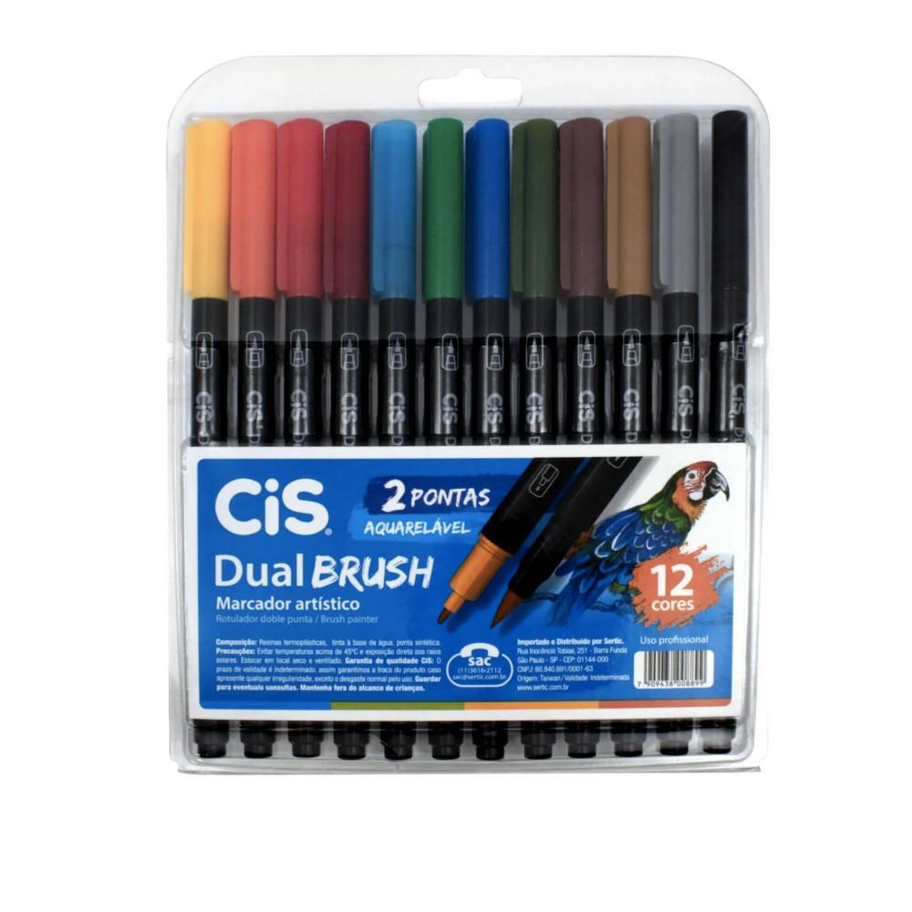 Caneta CIS Dual Brush Aquarelável Estojo c/ 12 Cores
