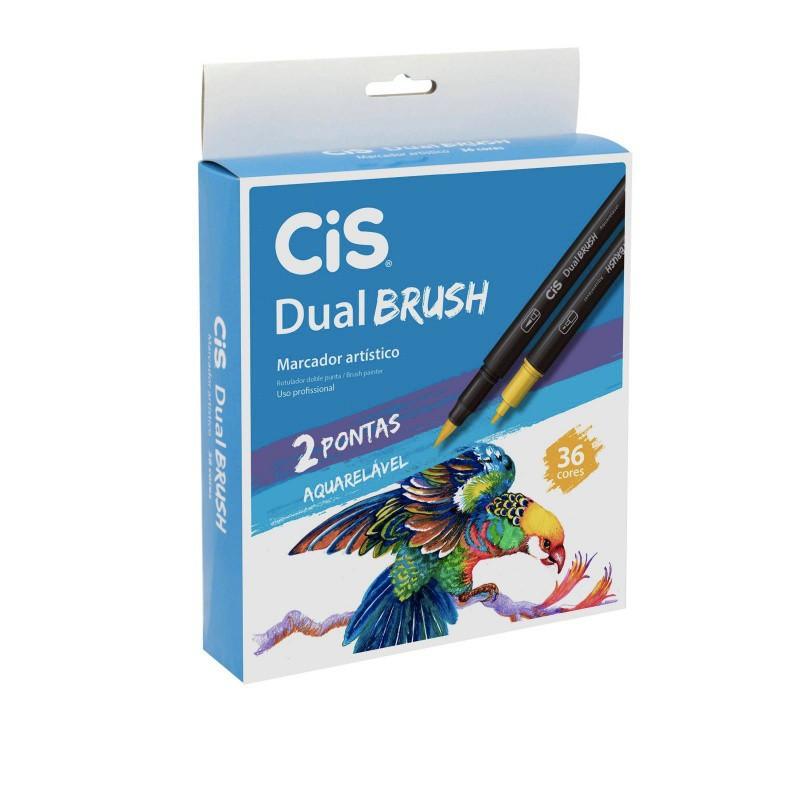 Caneta CIS Dual Brush Aquarelável  Estojo c/ 36 Cores