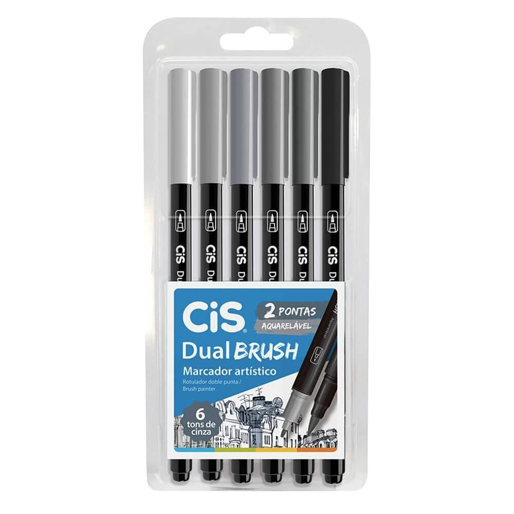 Caneta CIS Dual Brush Aquarelável Estojo c/ 6 Tons de Cinza