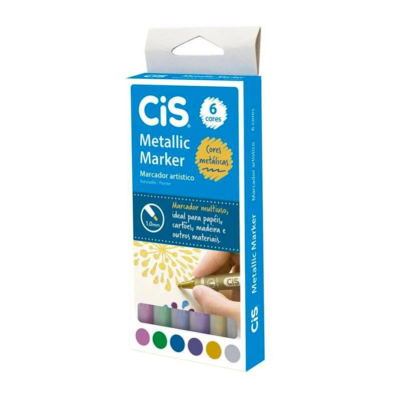 Caneta CIS Metallic Marker Estojo c/ 6 Cores