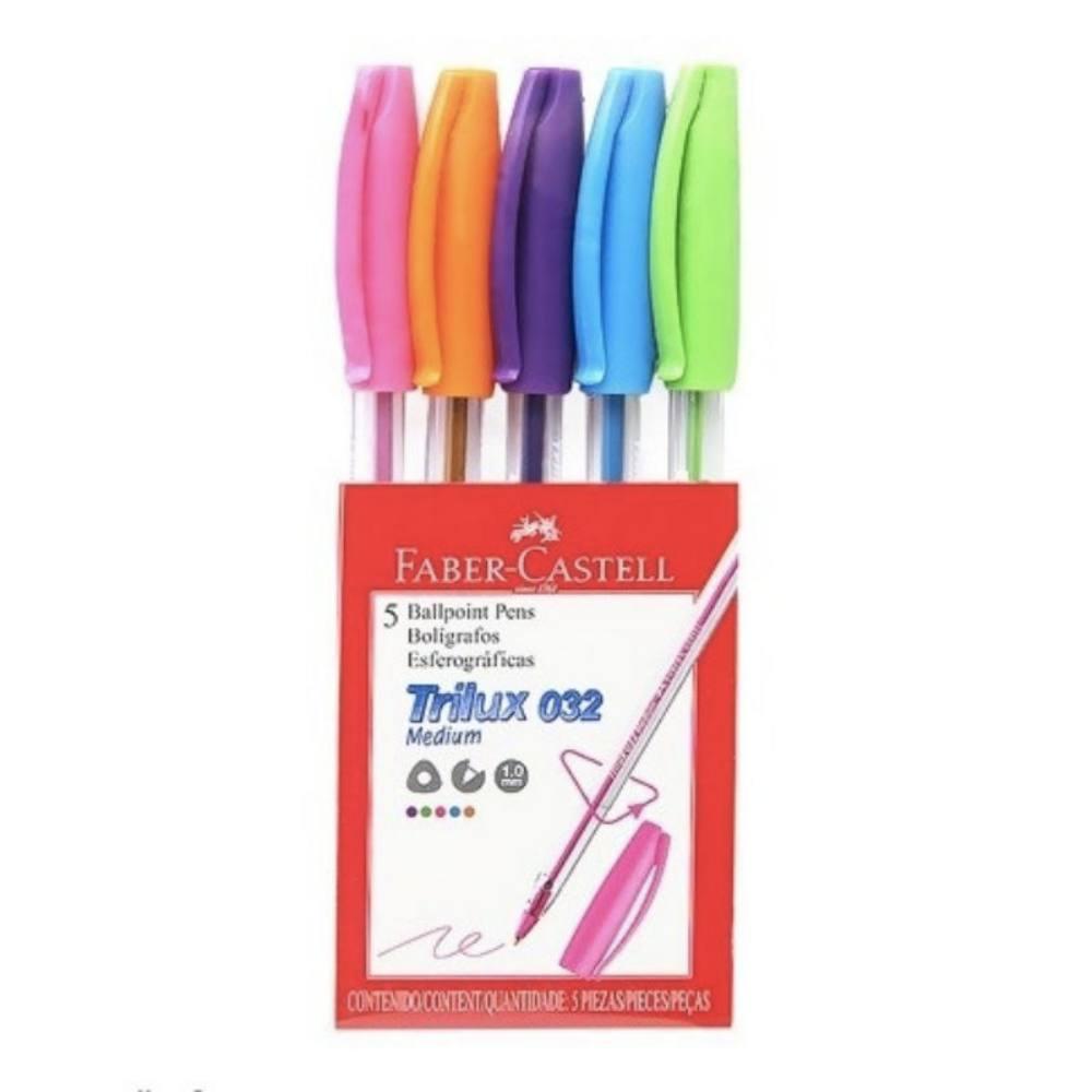 Caneta Esferográfica FABER-CASTELL Trilux Colors c/ 5 Cores