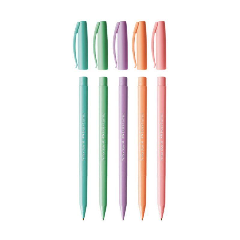 Caneta Esferográfica Trilux FABER-CASTELL Style Colors Pastel c/ 5 Cores