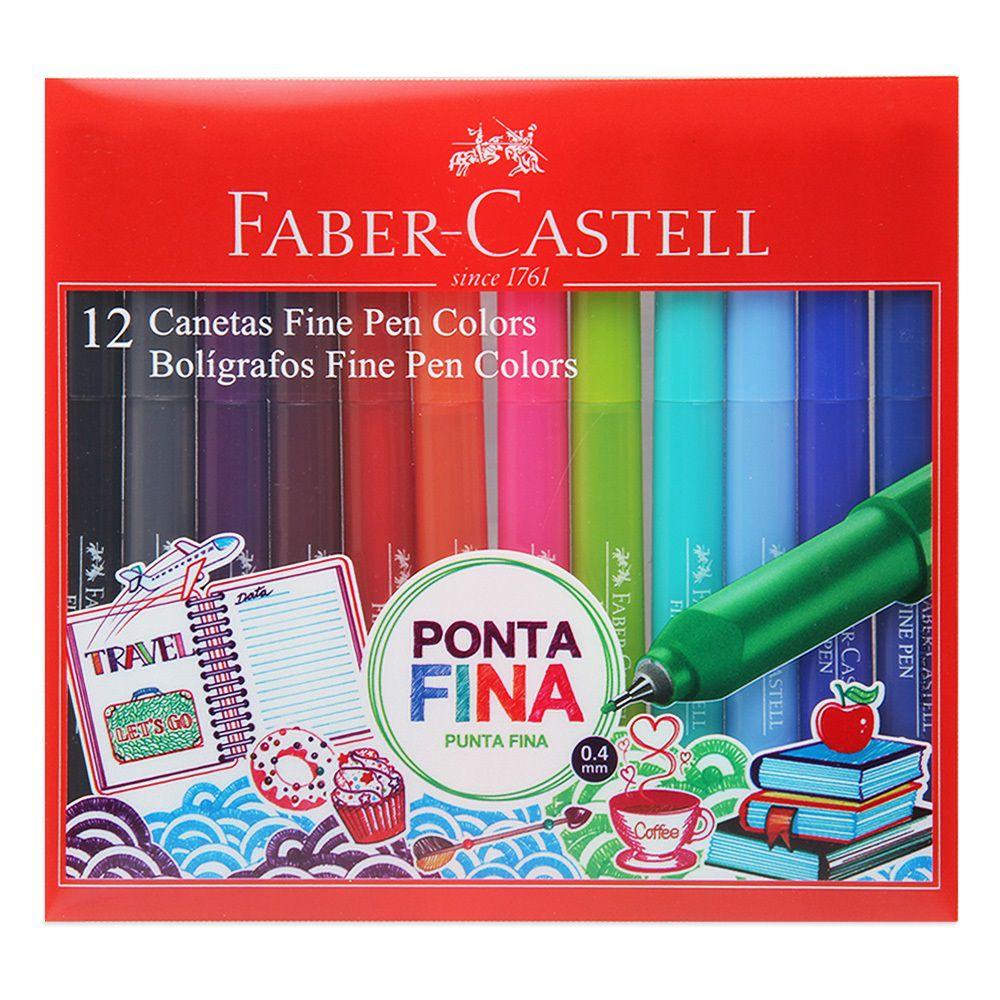 Caneta FABER-CASTELL Fine Pen Estojo c/ 12 cores