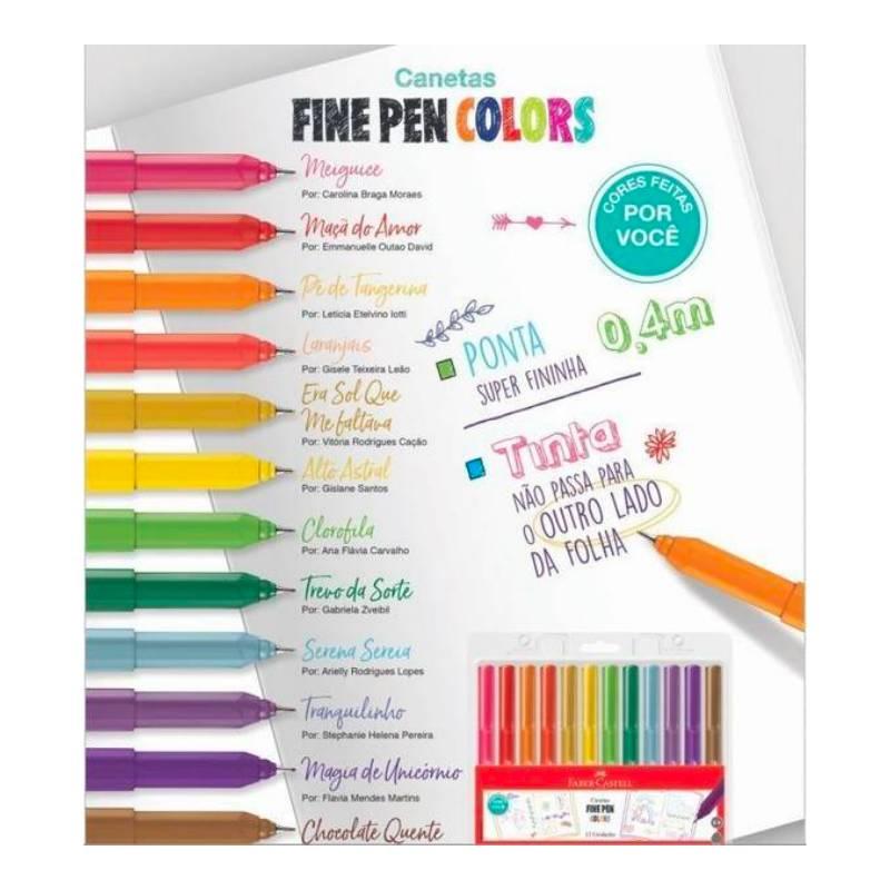 Caneta FABER-CASTELL Fine Pen Estojo c/ 12 cores - Novas Cores