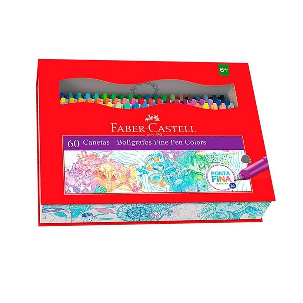 Caneta FABER-CASTELL Fine Pen Estojo c/ 60 cores