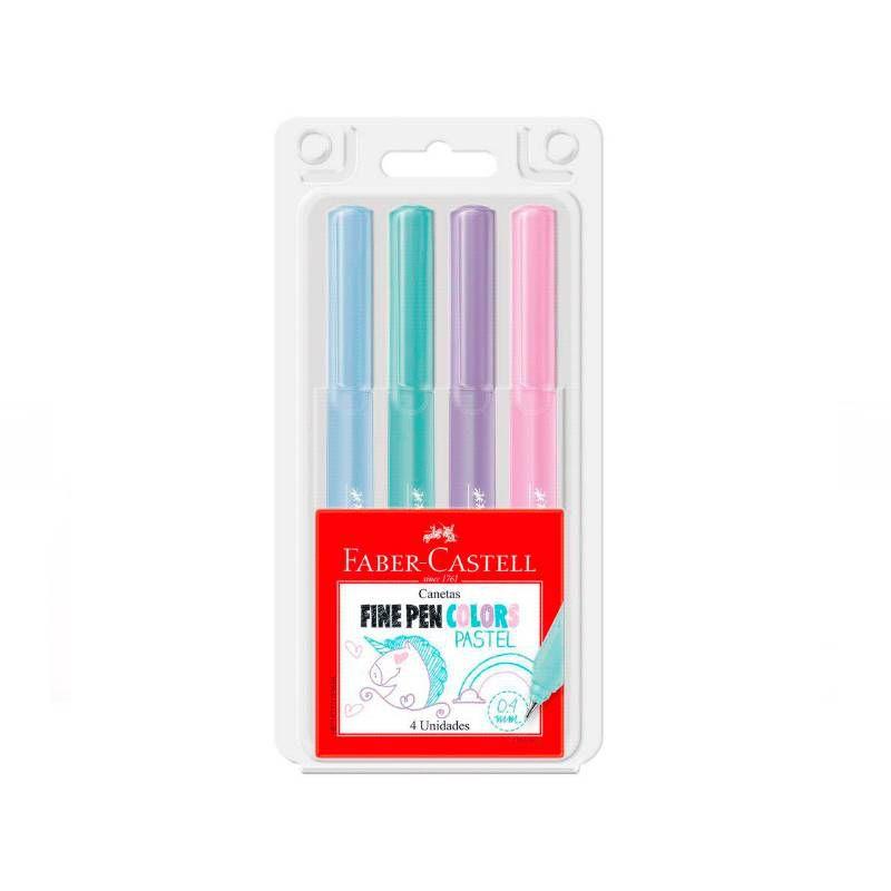 Caneta FABER-CASTELL Fine Pen PASTEL Estojo c/ 4 cores
