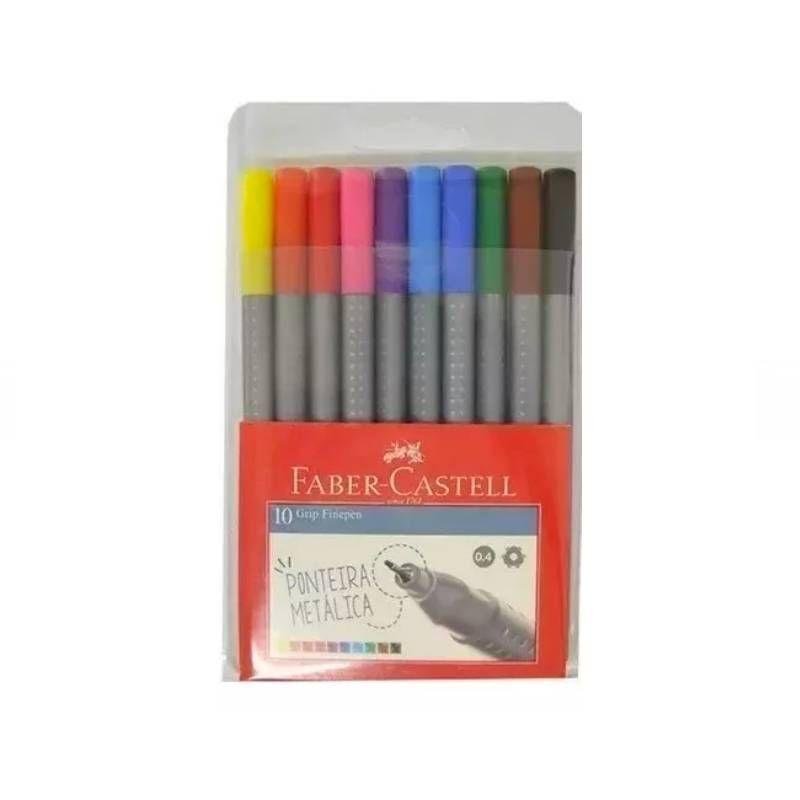 Caneta FABER-CASTELL Grip Fine Pen Estojo c/ 10 cores