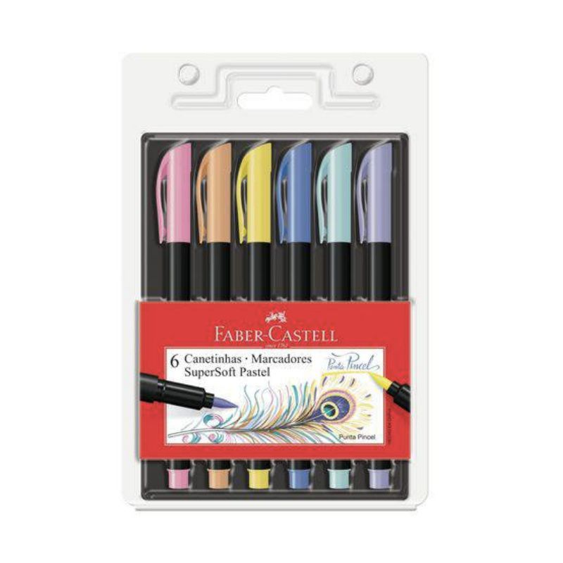 Caneta FABER-CASTELL  Supersoft Brush PASTEL c/ 6 Cores