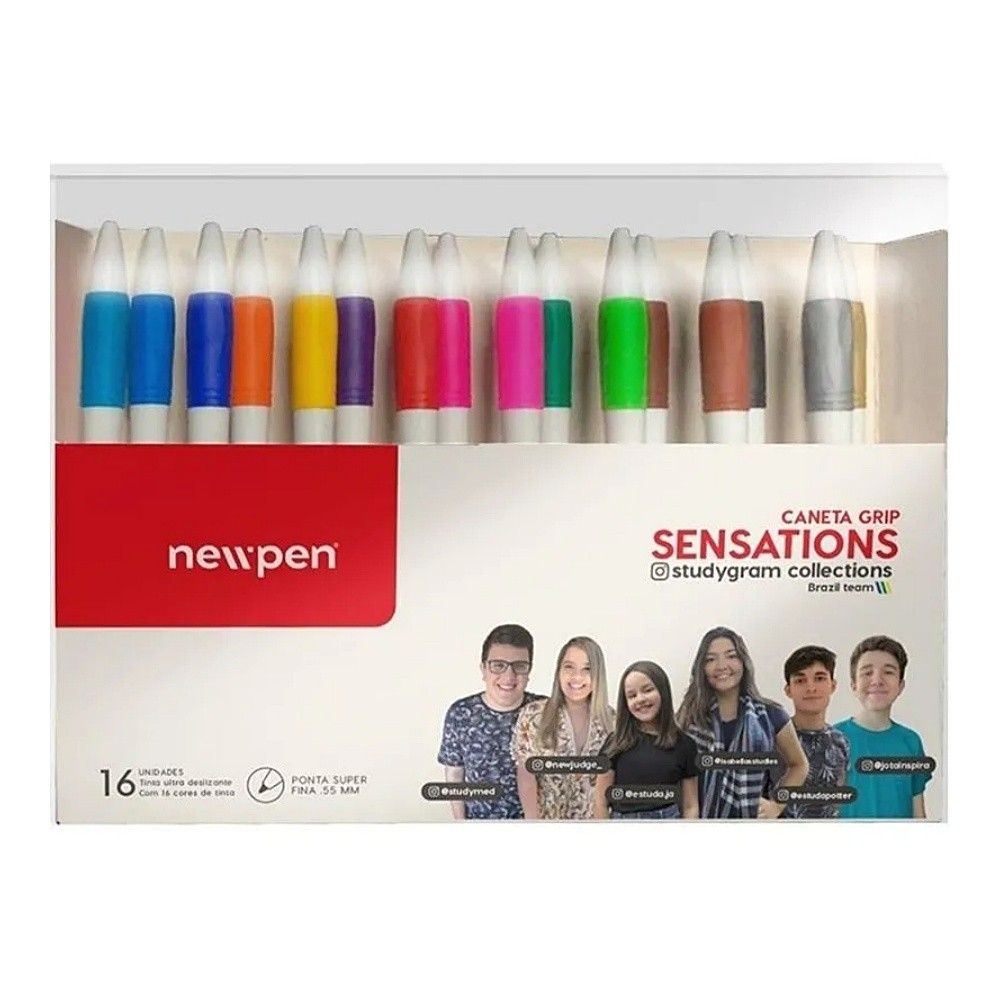 Caneta Gel NEWPEN Grip Sensation 0.55mm c/ 16 unds