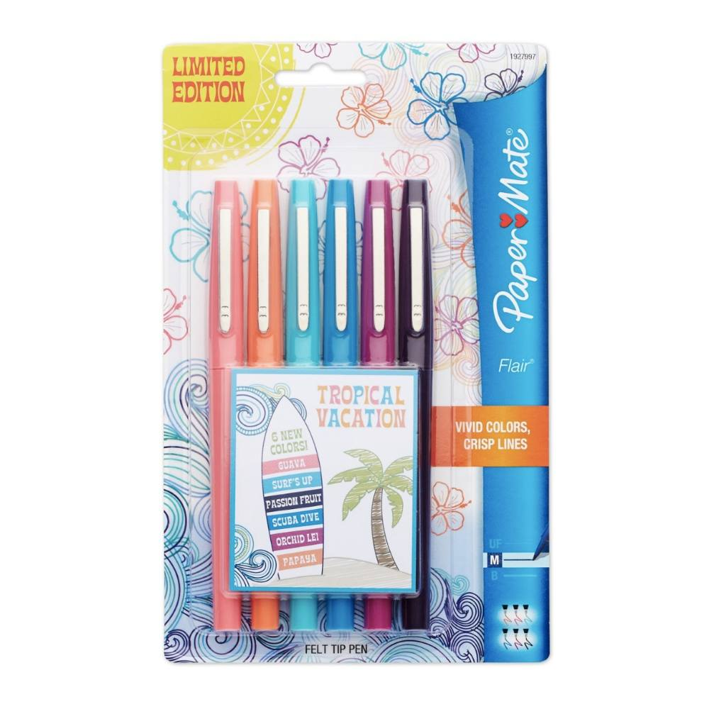 Caneta PAPERMATE Flair Média Tropical Vacation c/ 6 Cores