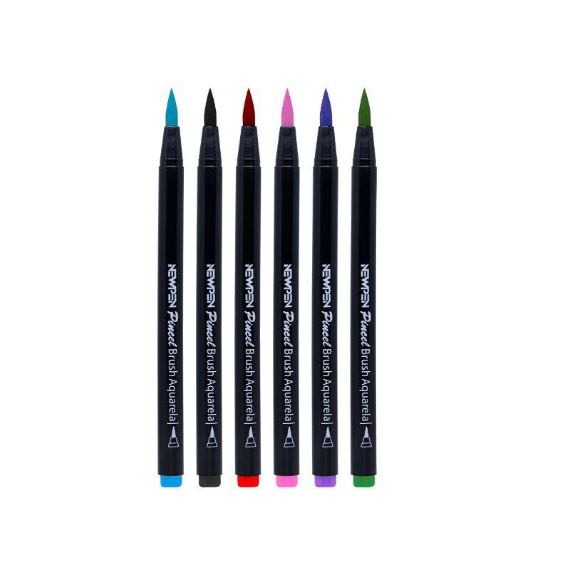 Caneta Pincel Brush Pen NEWPEN c/ 6 Cores Básicas