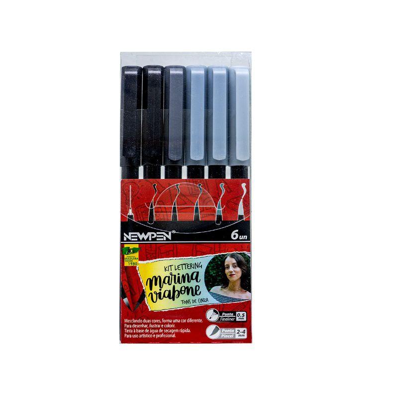 Caneta Pincel Brush Pen NEWPEN c/ 6 Cores Tons de Cinza