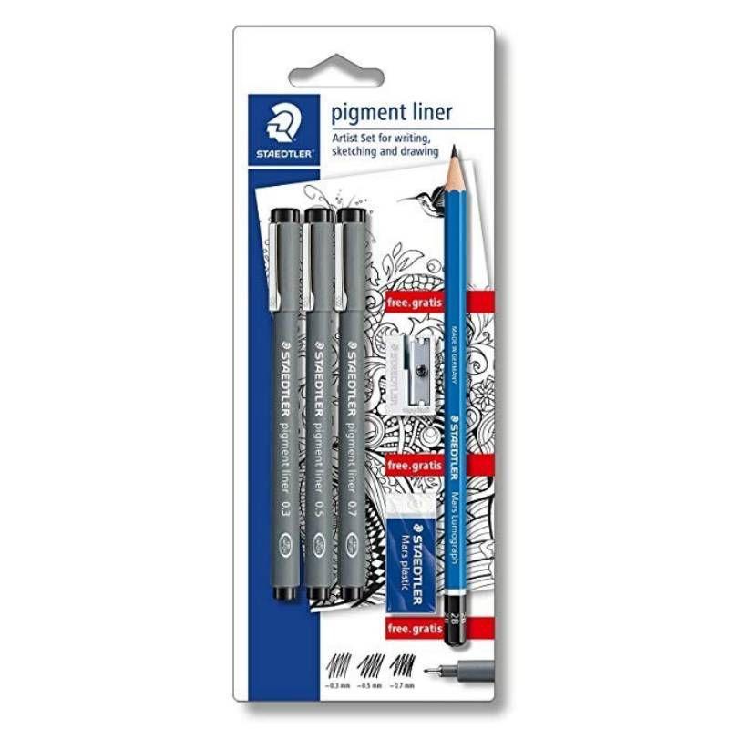 Caneta Preta STAEDTLER Pigment Liner - Estojo c/ 3 Unds + (Lápis + Borracha + Apontador Grátis)