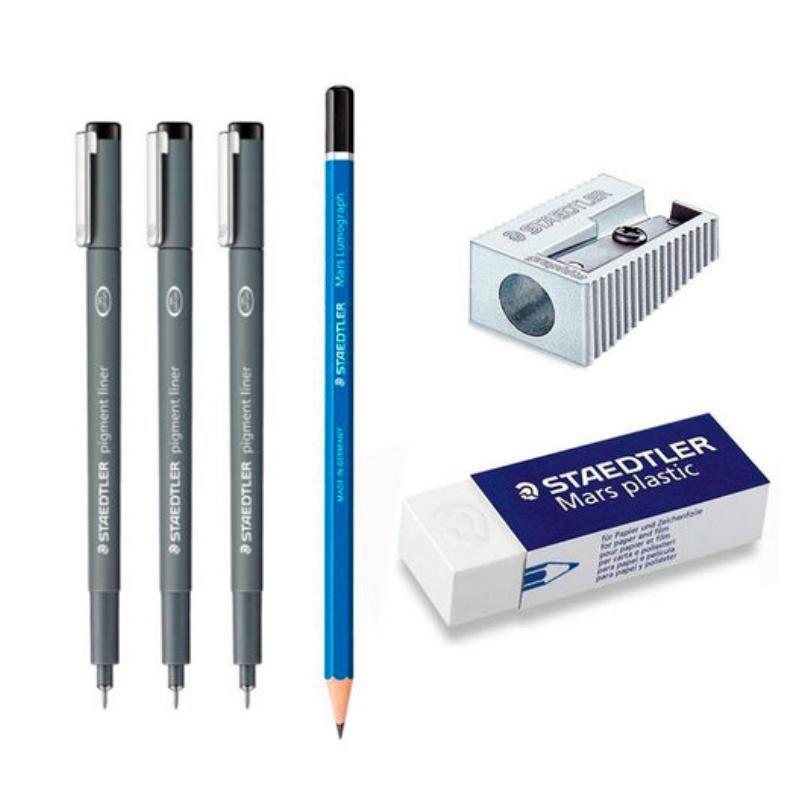 Caneta Preta STAEDTLER Pigment Liner - Estojo c/ 3 Unds +(Lápis + Borracha + Apontador) Grátis
