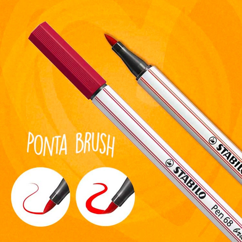 Caneta Stabilo Pen 68 Brush Estojo c/ 24 Cores