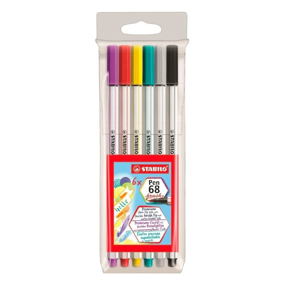 Caneta Stabilo Pen 68 Brush Estojo c/ 6 Cores