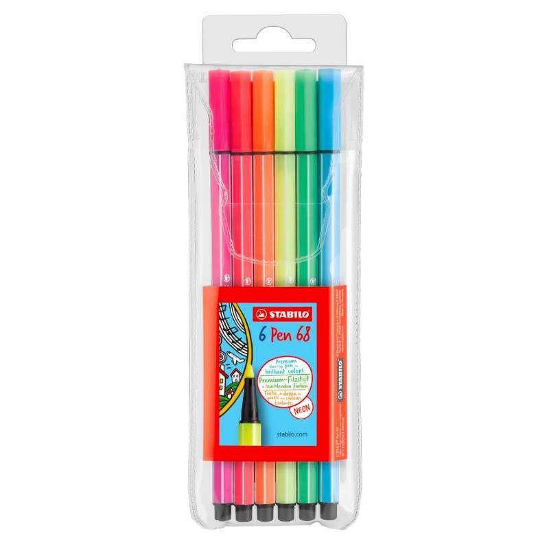 Caneta STABILO Pen 68 Neon  Estojo c/ 6 cores