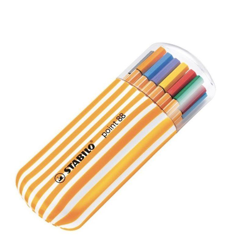 Caneta STABILO Point 88 Estojo c/ 20 cores (5 neon) - Zebrui