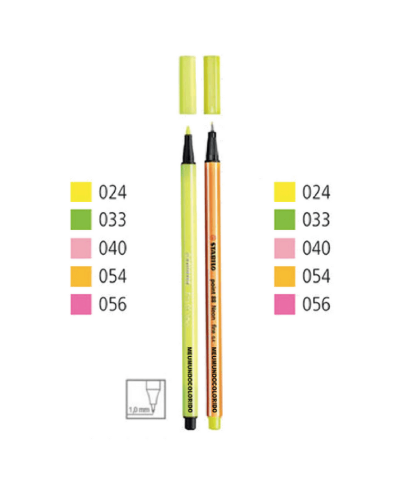 Caneta STABILO Point/Pen NEON - c/ 10 cores (5 Point + 5 Pen)