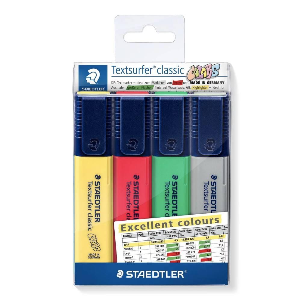 Cj. Marca Texto STAEDTLER Textsurfer Excellent Colours c/ 4 unds