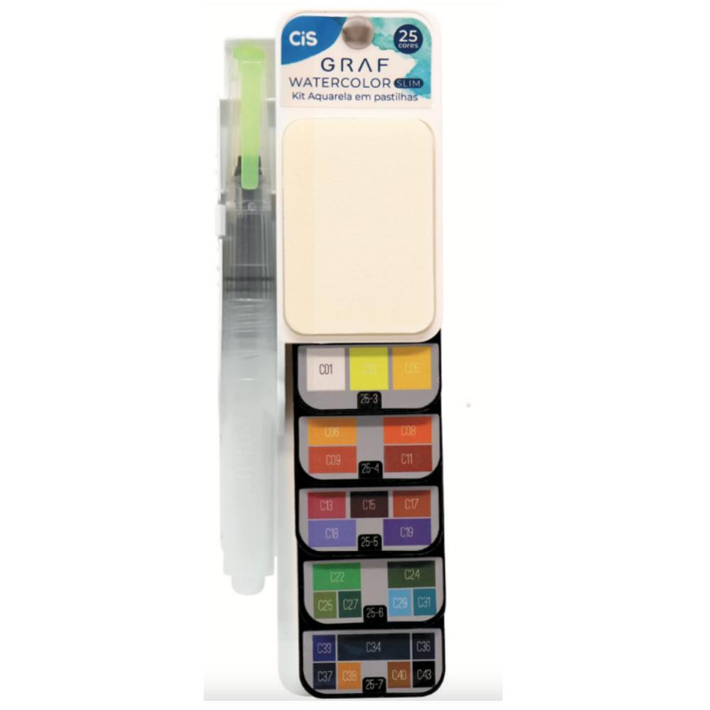 Cj. Watercolor Slim CIS c/ 25 Cores + Aqua Brush