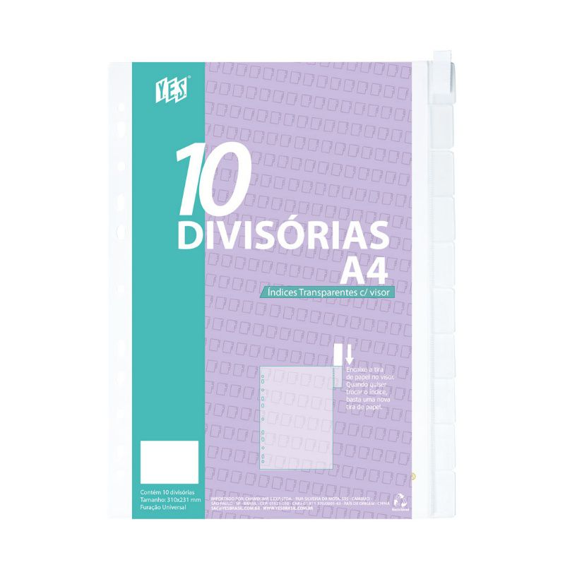 Divisória YES 10 Divisões c/ Visor Transparente A4