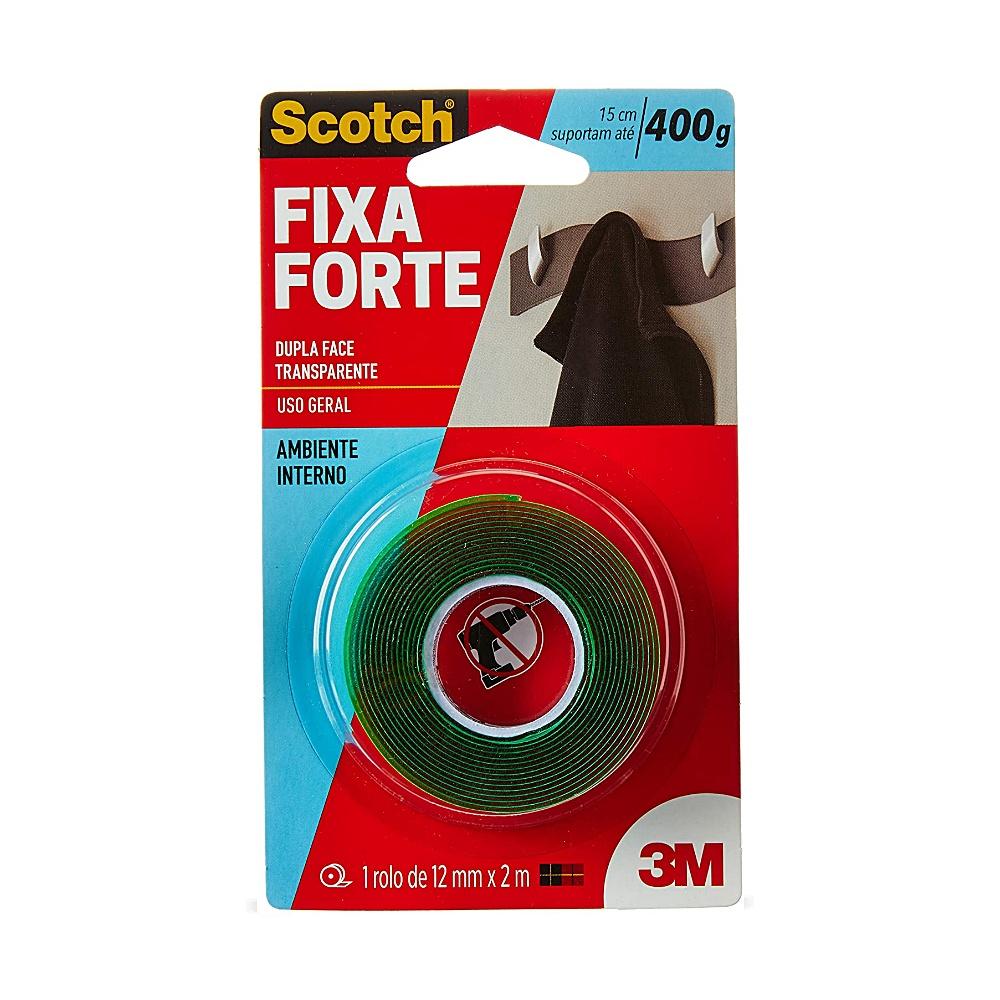 Fita Dupla Face Scotch® 3M Fixa Forte Transparente 12mm x 2m