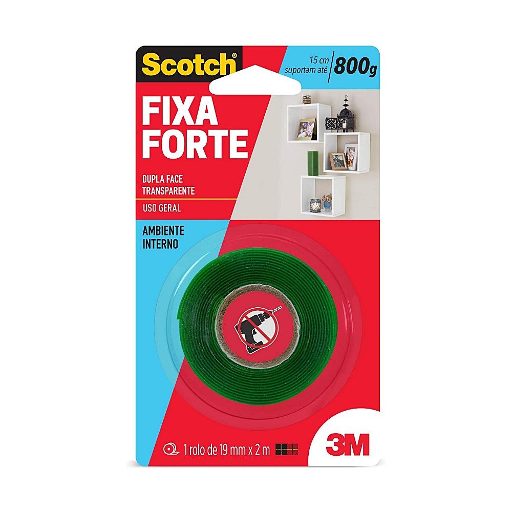 Fita Dupla Face Scotch® 3M Fixa Forte Transparente 19mm x 2m