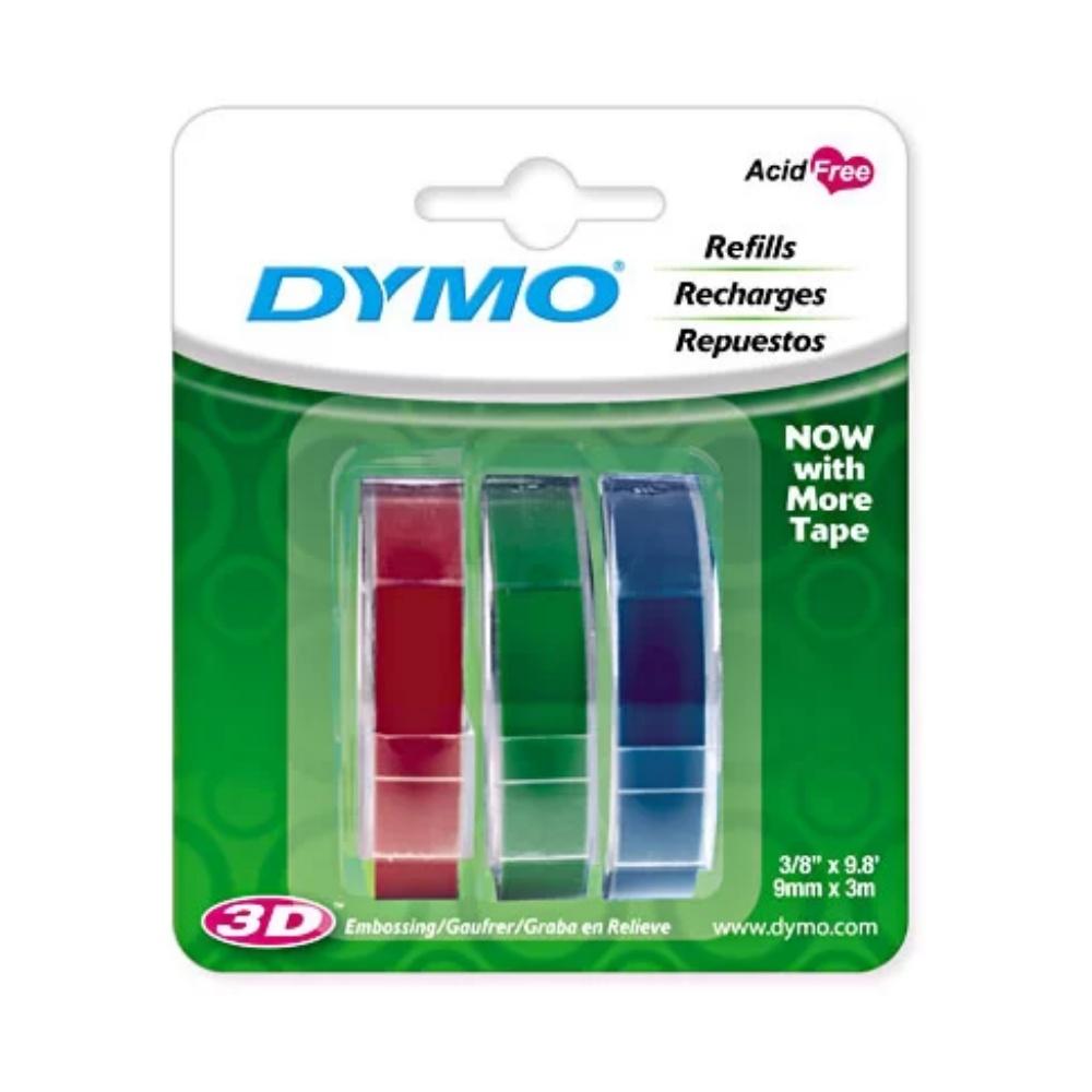 Fita Vinílica Colorida DYMO Para Rotulador Manual (9mm x 3m) - 3 Unidades