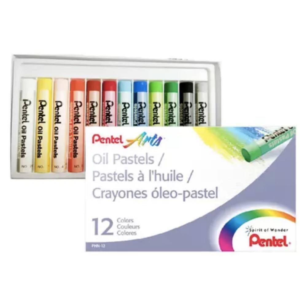 Giz PENTEL Pastel Oleoso  c/ 12 Cores