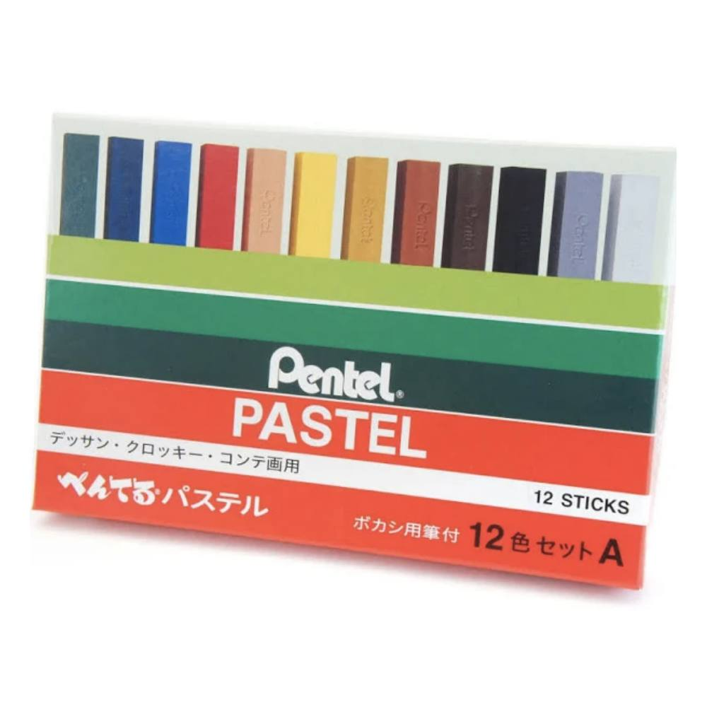 Giz PENTEL Pastel Seco c/ 12 Cores