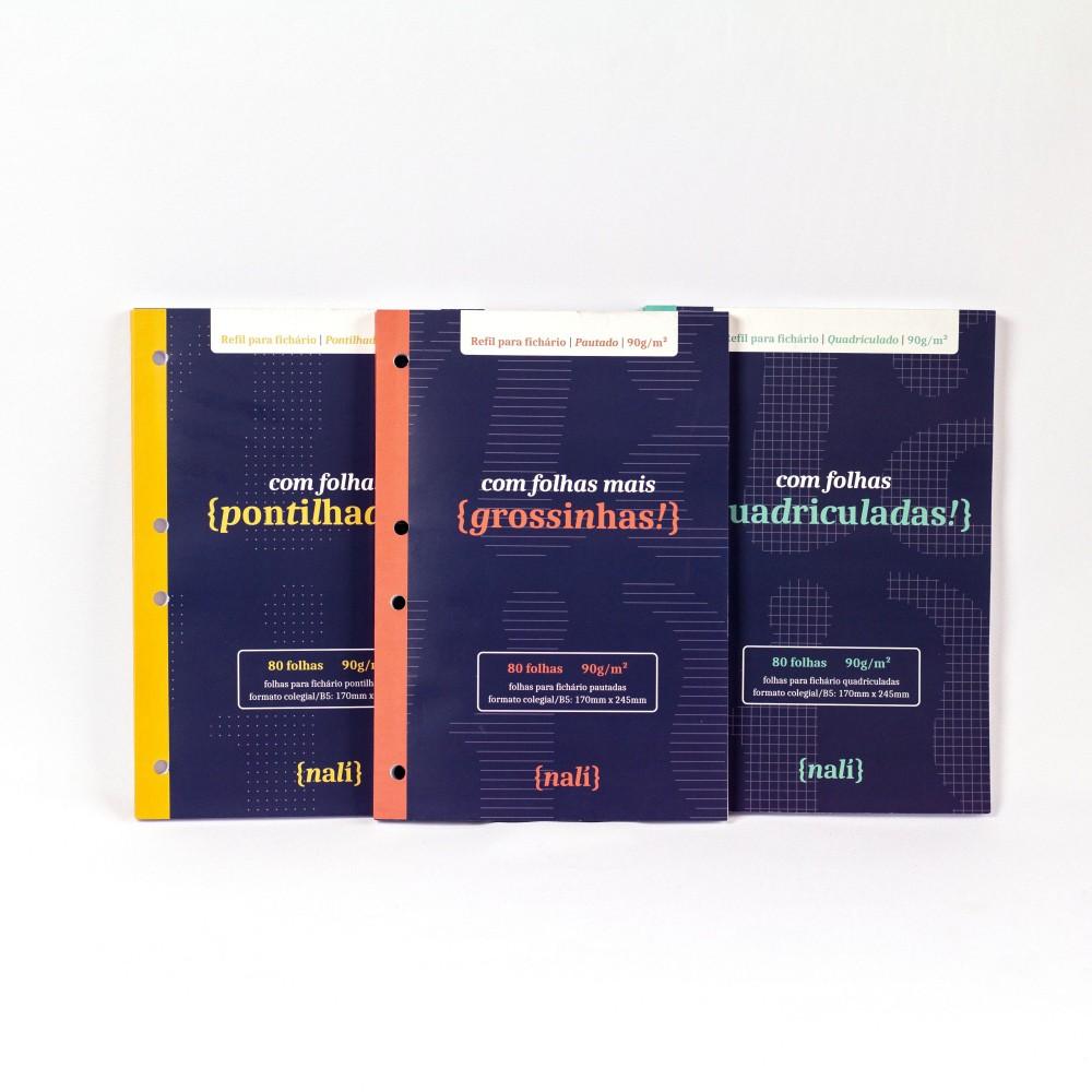 Kit Bloco NALÍ p/ Fichário B5/Colegial 90g/m2 c/ 80 Folhas (Pautado, Pontilhado e Quadriculado)