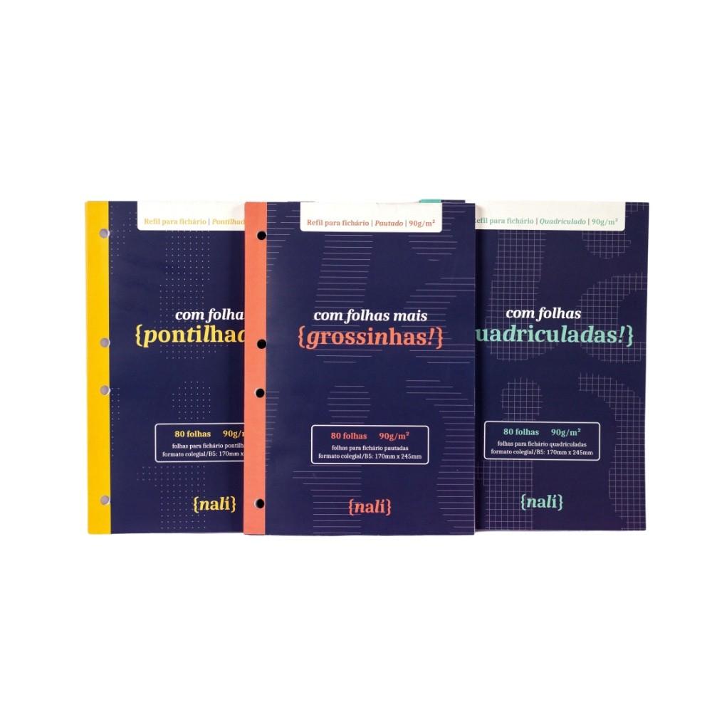 Kit Bloco NALÍ p/ Fichário Colegial 90g/m2 c/ 80 Folhas (Pautado, Pontilhado e Quadriculado)